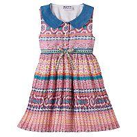 Baby Girl Blueberi Boulevard Print Pleated Chiffon Dress