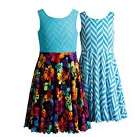 Girls 7-16 Emily West Reversible Tropical Flower & Chevron Skater Dress