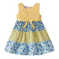 Baby Girl Blueberi Boulevard Floral Crochet Tiered Dress