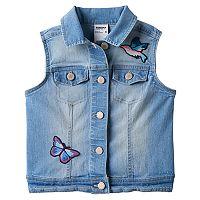 Girls 4-12 SONOMA Goods for Life™ Embroidered Patch Denim Vest