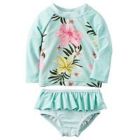 Baby Girl Carter's Floral Rashguard & Ruffled Bottoms Swimsuit Set