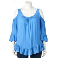 Plus Size World Unity Cold-Shoulder Gauze Top