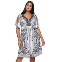 Plus Size World Unity Embellished Cold-Shoulder Dress