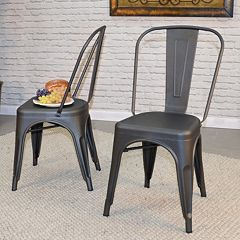Adeline Stackable Metal Dining Chair 2-piece Set  by