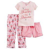 Toddler Girl Carter's 3-pc. Glittery Graphic Tee, Shorts & Pants Pajama Set