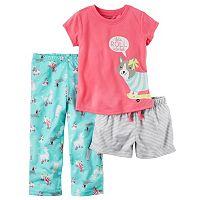 Toddler Girl Carter's Graphic Tee, Striped Shorts & Print Pants Pajama Set