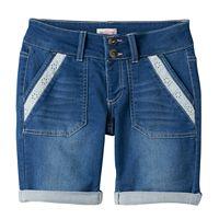 Girls 7-16 & Plus Size SO® Lace Trim Bermuda Jean Shorts