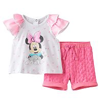 Disney's Minnie Mouse Baby Girl Glitter Smile Graphic Tee & Shorts Set