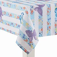 Celebrate Spring Together Blue Stripe Tablecloth