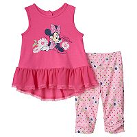 Disney's Minnie Mouse Baby Girl Ruffle Graphic Tank Top & Leggings Set