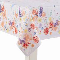 Celebrate Spring Together Border Floral Print Tablecloth