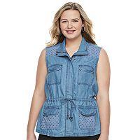 Juniors' Plus Size Candie's® Eyelet Utility Vest