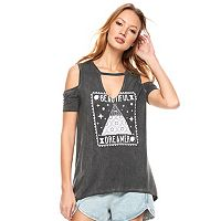 madden NYC Juniors' Cold Shoulder Swing Graphic Tee