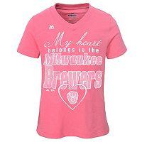 Girls 7-16 Majestic Milwaukee Brewers My Heart Belongs To Tee