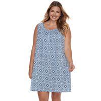 Plus Size Croft & Barrow® Pajamas: Sleeveless Pattern Nightgown