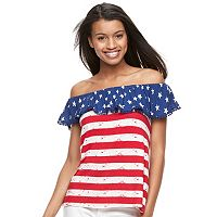 Juniors' Cloud Chaser Patriotic Off-the-Shoulder Top