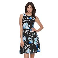 Women's ELLE™ Pleated Print Fit & Flare Dress