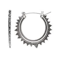Mudd® Textured Spike Hoop Earrings