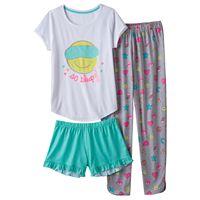 Girls 4-16 SO® 3-pc. Graphic Pajama Set