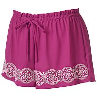 Juniors' About A Girl Embroidered Shortie Shorts