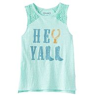 Girls 7-16 & Plus Size Mudd® Crochet Lace Shoulders Graphic Tank Top