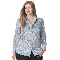 Plus Size Chaps Printed No-Iron Sateen Shirt