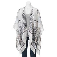 madden NYC Tribal Embroidered Trim Ruana