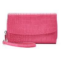 Croft & Barrow® RFID-Blocking Crocodile Checkbook Holder Wristlet