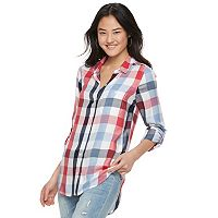 Juniors' SO® Plaid Pleated Shirt