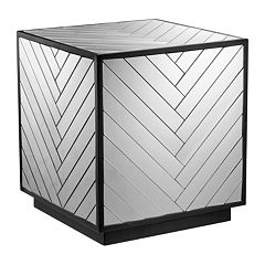 Madison Park Mirrored Chevron End Table by