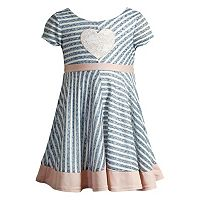 Baby Girl Youngland Heart Striped Textured Dress