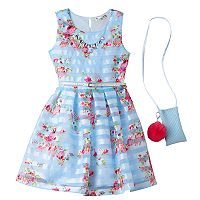 Girls 7-16 Knitworks Belted Floral Shadow Stripe Dress with Necklace & Crossbody Accessory Purse
