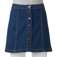 Juniors' Mudd® Button Front Jean Skirt
