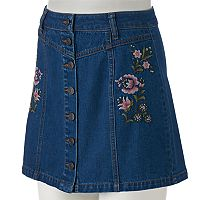 Juniors' Mudd® Floral Embroidery Button-Front Jean Skirt