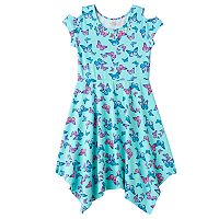 Girls 7-16 SO® Cold Shoulder Embellished Patterned Handkerchief Hem Dress