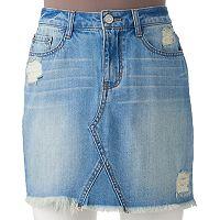 Juniors' Mudd® Ripped Jean Skirt
