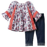 Baby Girl Little Lass Floral Gauze Top & Jeggings Set