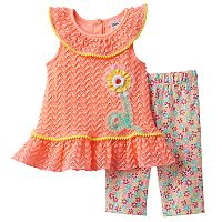 Baby Girl Little Lass Crochet Tank Top & Floral Capris Set