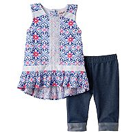 Baby Girl Little Lass Floral Gauze Tunic & Capri Jeggings Set