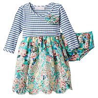 Baby Girl Bonnie Jean Striped Floral Dress