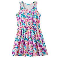 Girls 4-10 Jumping Beans® Flower Patterned Slubbed Lace Racerback Dress