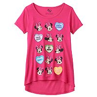 Disney's Minnie Mouse Girls 7-16 Candy Hearts Valentine's Day Graphic Tee