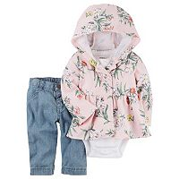 Baby Girl Carter's Floral Hooded Cardigan, Bodysuit & Jeans Set