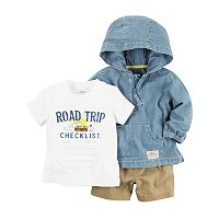 Baby Boy Carter's Roadtrip Tee, Hooded Chambray Pullover & Shorts Set