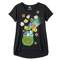 Disney's Tsum Tsum Girls 7-16 St. Patrick's Day Pot of Tsum Tsum Glitter Graphic Tee