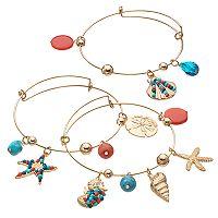 Seahorse, Seashell & Starfish Charm Bangle Bracelet Set