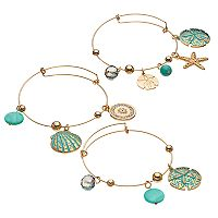 Sand Dollar, Seashell & Starfish Charm Bangle Bracelet Set