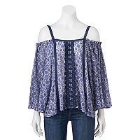 Juniors' Rewind Tile Cold Shoulder Top
