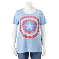 Juniors' Plus Size Marvel Captain America Shield Graphic Tee