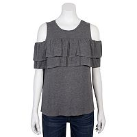 Juniors' Grayson Threads Ruffle Cold-Shoulder Top